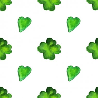 pattern with four leaf clover and a hearts