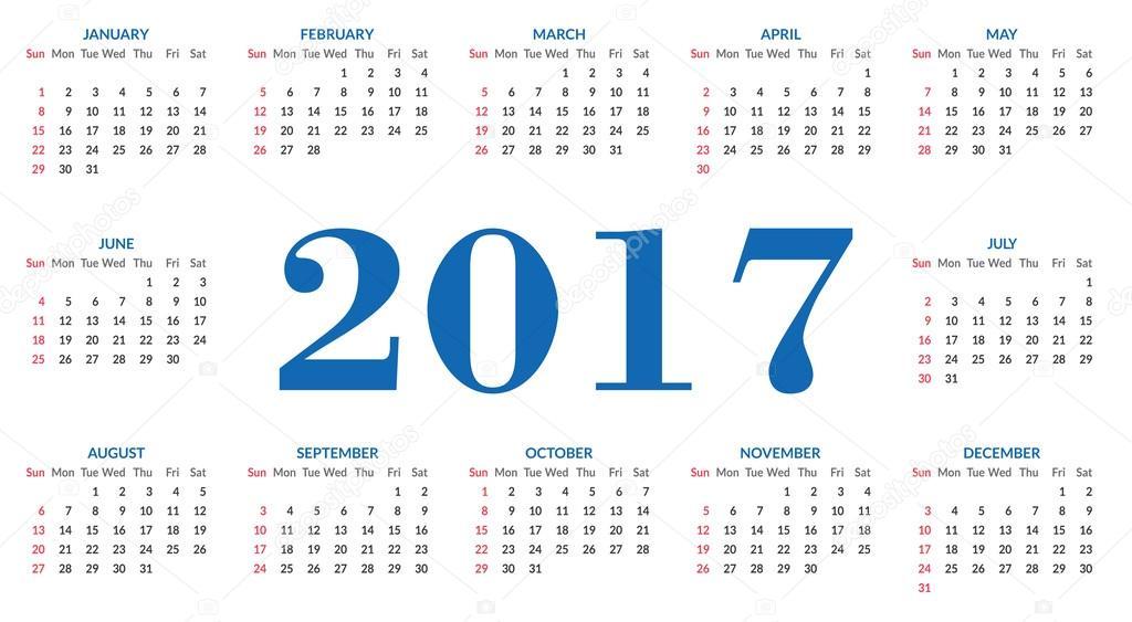 plantilla simple calendario 2017 archivo imágenes vectoriales