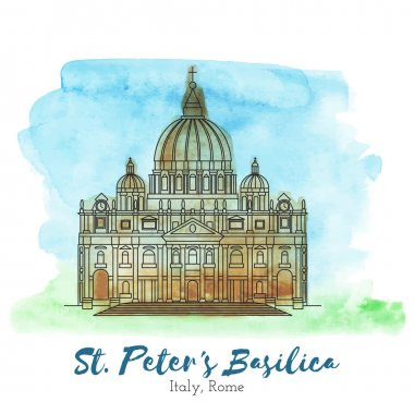 St. Peters Basilica in black thin line