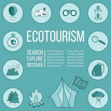 Set of ecotourism posters in doodle design