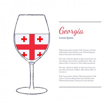 wine glass with National flag