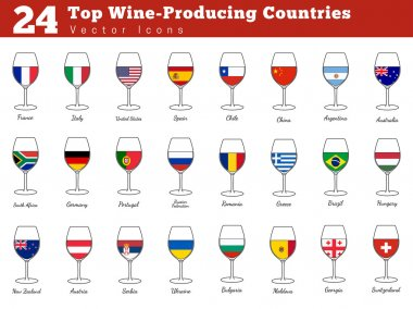Collection of top wine producing countries pictograms. Wine glasses with national flags with names. Graphic design elements isolated on white background. Colorful flat design style vector illustration stock vector