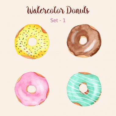 Hand painted isolated watercolor donuts