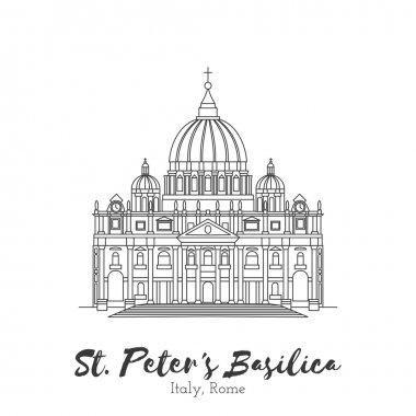 European landmark in thin line vector illustration
