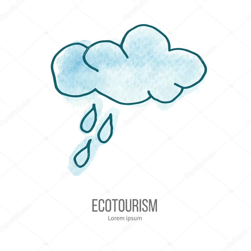 Vector ecotourism doodle on watercolor texture