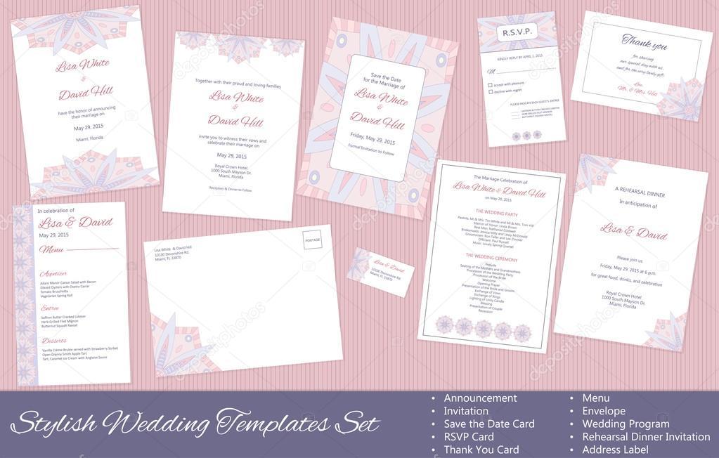 Stilvolle Hochzeit Vektor Vorlagen Festgelegt: Ankündigung, Einladung, Save  The Date Card Rsvp Karte, Danke Karte, Menü, Umschlag, Hochzeitsprogramm,  ...