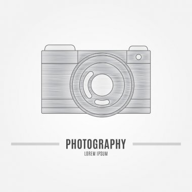 Old camera - branding identity element, isolated on white backgr