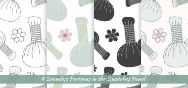 Seamless patterns with herbal compress balls