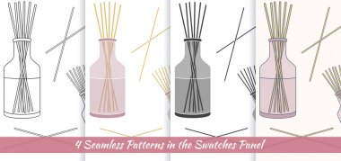 Seamless patterns with with reed fragrance diffuser