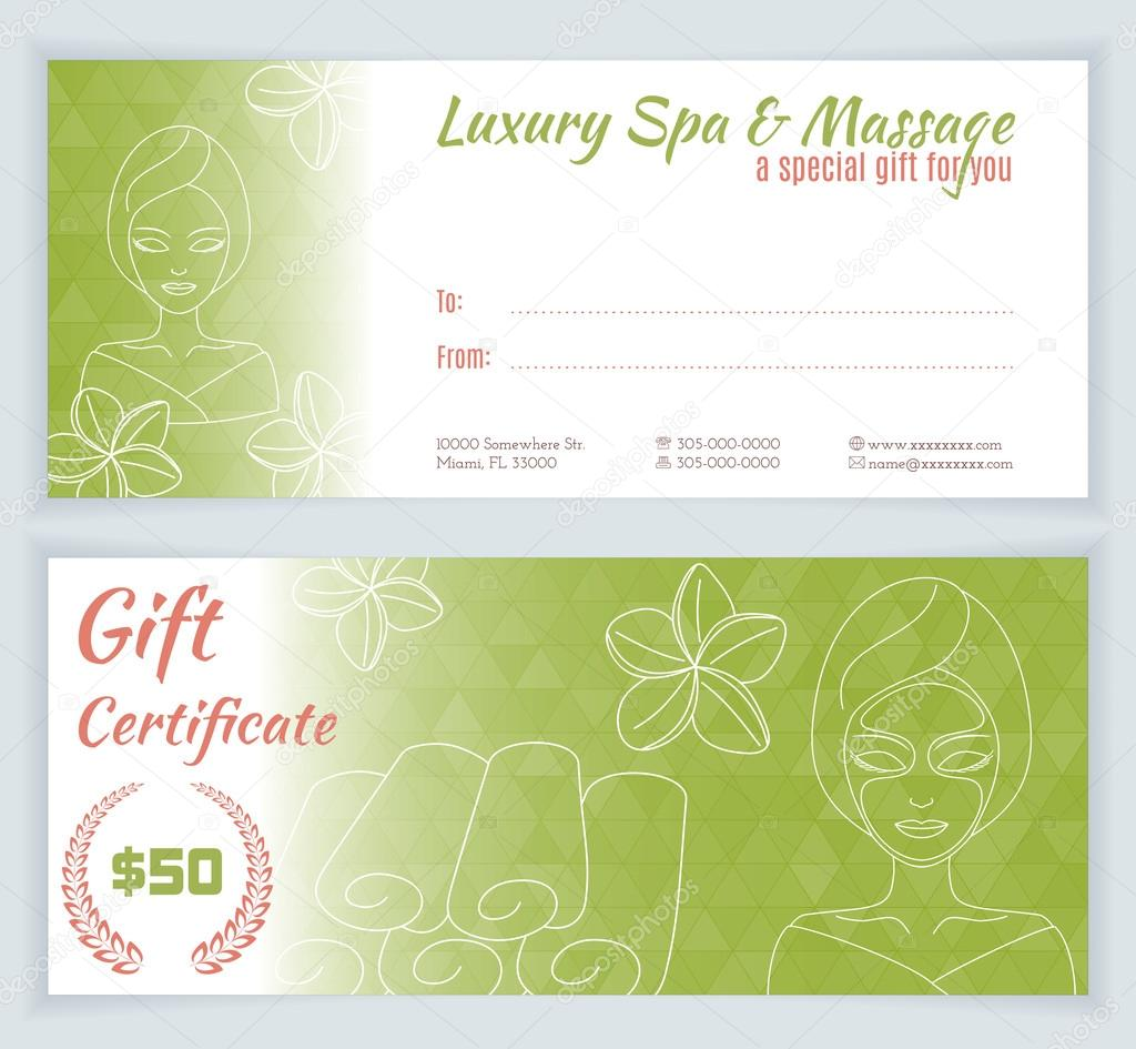 spa massage gift certificate template ストックベクター