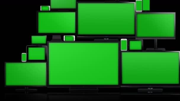 Mnoho různých typů obrazovek s zelená obrazovka