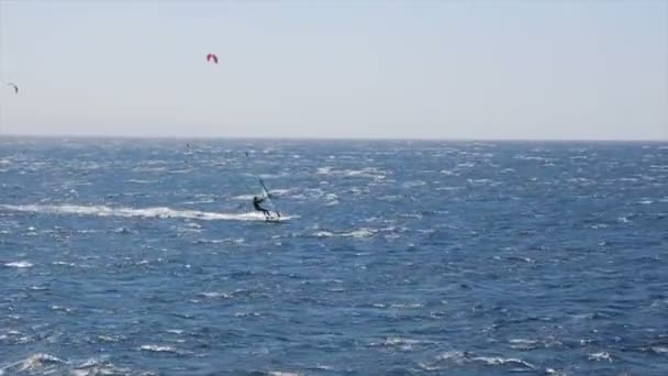 A windsurfer sailing fast in the Red Sea