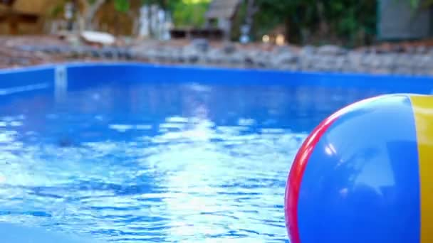 Beach Ball In Pool Intended Colorful Beach Ball Thrown Into The Water In Pool u2014 Stock Video