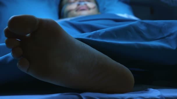 Patient lying in a hospital bed