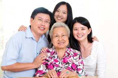 Cheerful asian family