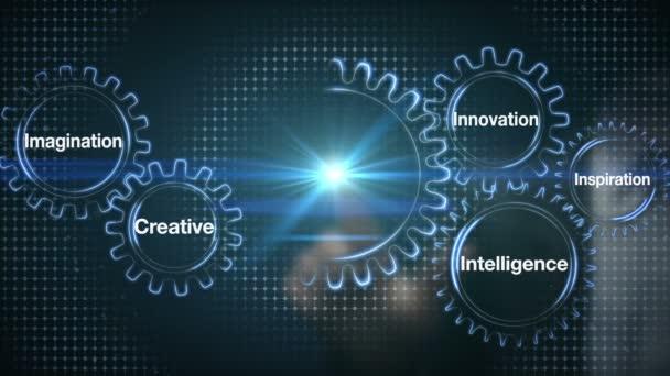 Ausrüstung mit Schlüsselwort, Kreativität, Innovation, Intelligenz, Inspiration, Fantasie, Geschäftsmann Touchscreen Zukunft (enthalten Alpha)