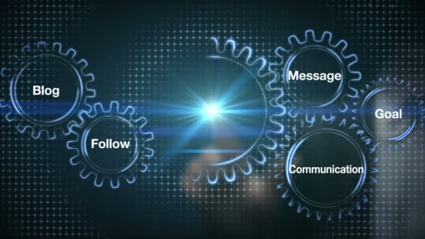 Gear with keyword, Blog, Follow, Communication, Message, Goal, Businessman touch screen SOCIAL MARKETING (included alpha)