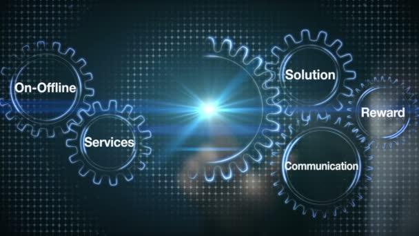 Zařízení s klíčovým slovem, online, služby, řešení, odměna, komunikace, obchodník dotykový displej spokojenost zákazníka (včetně alfa)