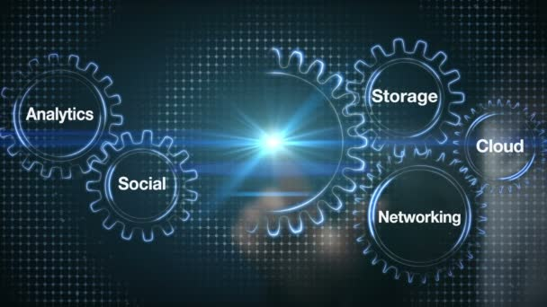 Gear with keyword, Analytics, Social, Storage, Cloud , Networking, Businessman touch screen BIG DATA(included alpha)