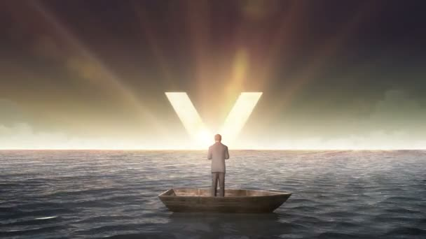 Stoupající znak jenu, měna, před obchodníkem na lodi, v oceánu, na moři.