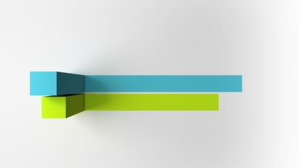 3D graf se dvěma nadpisy čtvercových pruhů, šablona prezentace verze 3 (včetně alfa)