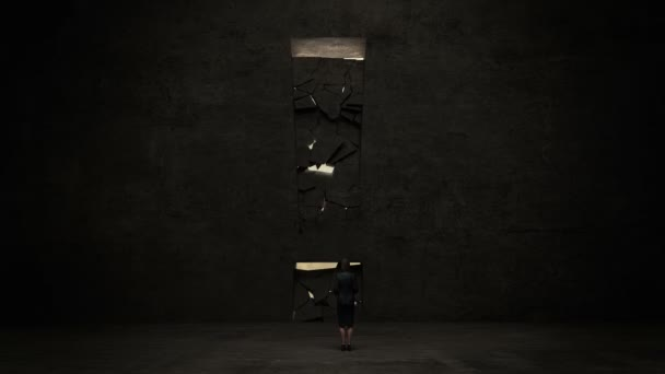 businesswoman Standing in front of a exclamation sign.on the black wall, Business plan and various graph. concept.2