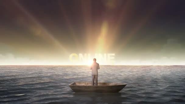 Rostoucí překlep Online nakupování, přední podnikatel na lodi, v oceánu, moře.