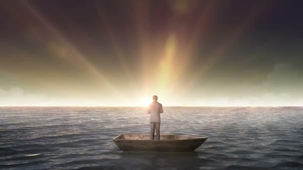 Stoupající překlep řešení, přední podnikatel na lodi, v oceánu, moře.