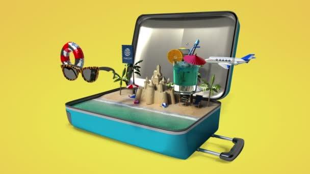 Otevřeli jsme cestovní tašku, kufr, připravte se na výlet na letní dovolenou, Tour 3 (včetně alfa)