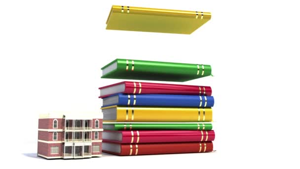 Big stack of books with graduation cap, school building.