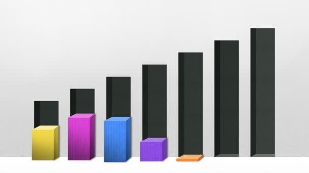 Sieben 3D-Balkendiagramm, erhöhen Wirtschaftsdiagramm (enthalten Alpha)