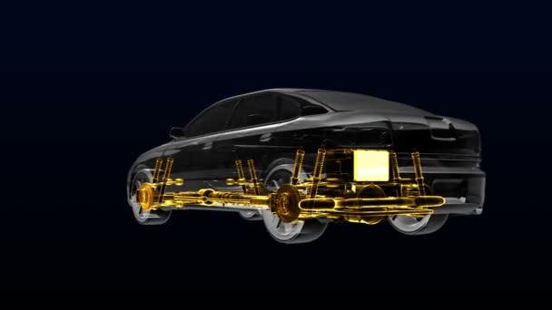 Automobilová technika. Hnací hřídel, motor, vnitřní sedadlo. X-ray 360 stupňů boční pohled. 3D ilustrace, prostorové vykreslování.