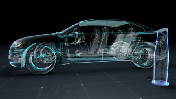 Automobile technológia. Making motor, alkatrészek össze, röntgen felülnézet. a digitális kijelzõpanelen. felhasználói felület.