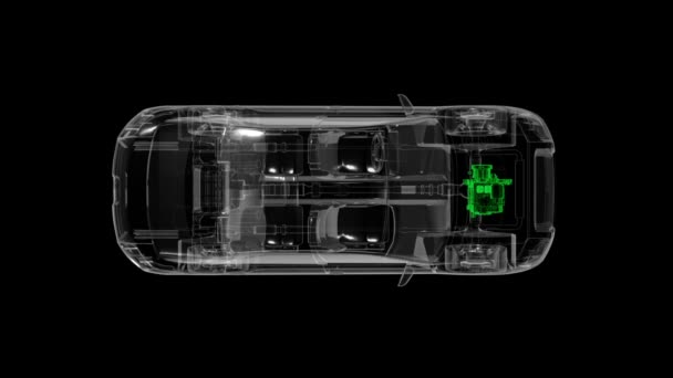 Automobile technológia. Kardántengely rendszer, motor, belső ülés. X-ray felülnézet.