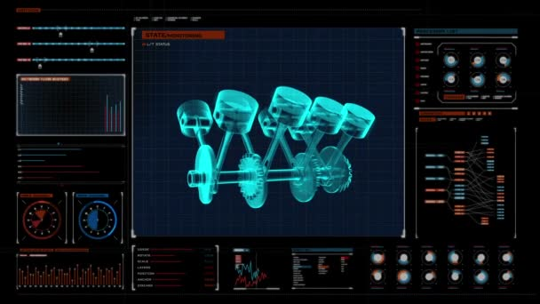 Automobile Technology. Engine piston  X-ray Top view. in digital display panel. user interface.