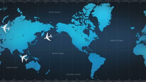 Airplane around world map.tour.