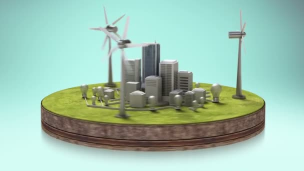 Wind power energy panel on the ground. Eco-friendly energy.(included alpha)