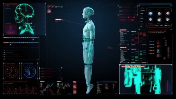 Rotating transparency 3D robot body in digital interface. display.