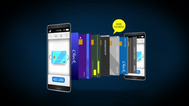 Credit card into smartphone, concept of mobile payment, select main mobile credit card.