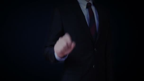 Businessman touching charts and Various animated Stock Market charts and graphs. increase market.
