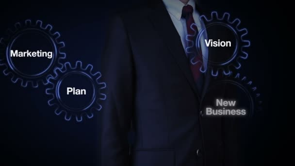 Gear with keyword, Plan, marketing, vision, strategy, new business, Businessman touching screen BUSINESS