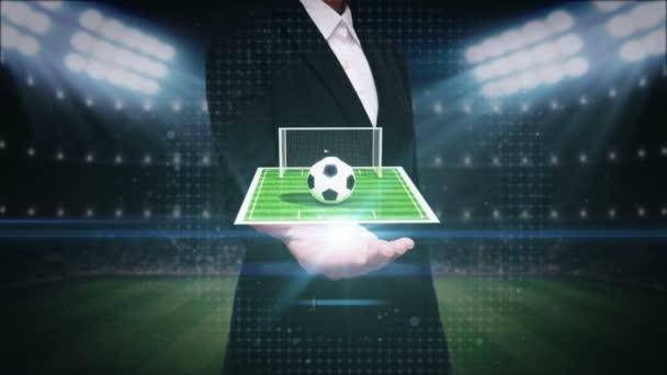 Geschäftsfrau offene Palme, um Fußball-Ikone, Fußballplatz, Animation (enthalten Alpha)