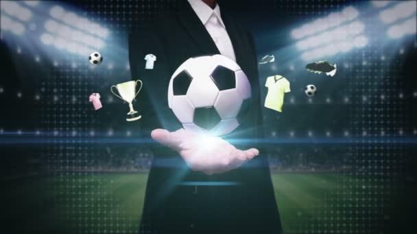 Ženská otevřená Palm, ikona fotbalového míče, fotbalová animace.