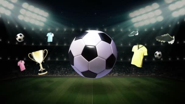 Kolem ikony fotbalového míče, animovaná animace (včetně alfa)