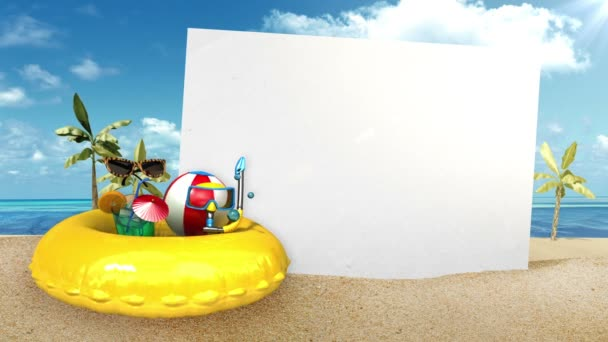 Enjoy! summer holidays Prepare to travel for summer vacation front whiteboard, Enjoy holiday vacation in tropical beach