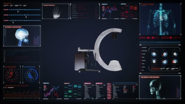 C Arm X-Ray Machine Scanner in digital display dashboard, medical diagnosis technology.