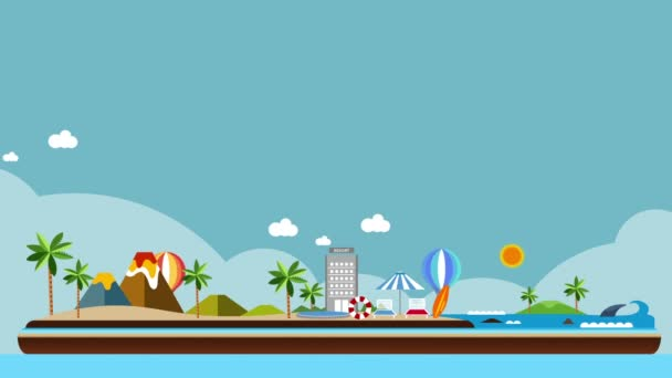 World map, Island travel. Beach Tour, illustration animation, vacation.