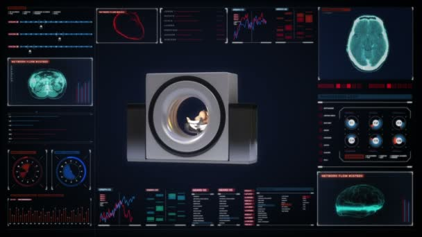 Ct-Scanner, medizinische Diagnosetechnik. Mri-Maschine im Digitaldisplay-Dashboard.