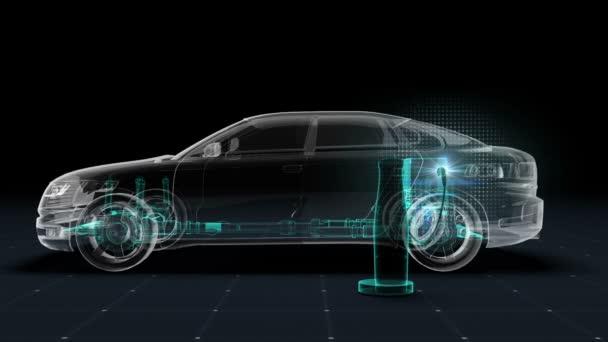 Electronic, vodík, lithium ion baterie echo auto. Nabíjení autobaterie. Rentgenový obraz. Eco-friendly budoucí auto.