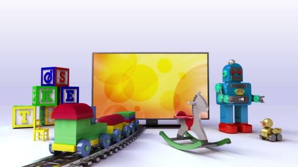 Smart Tv-tartalom, a gyerekek és a játék, koncepció (tartalmazott képernyő alfa, alfa háttér)
